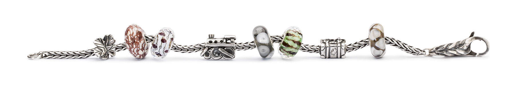 Silver bracelet adorned with the new beads from the summer collection